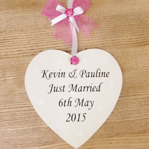 Personalised 'Just Married' Handmade Wedding Heart Keepsake